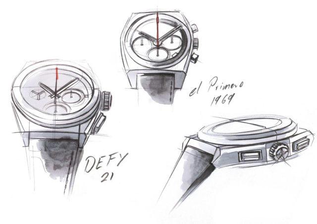 Zenith Defy 21 und Zenith El Primero von 1969: Zeichnung von Romain Marietta