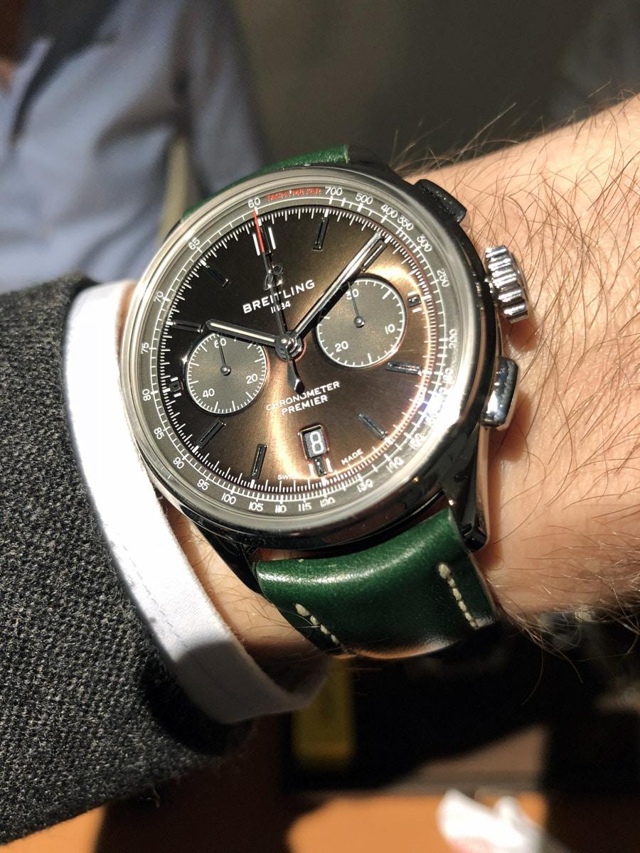 Breitling Premier B01 Chronograph 42 Bentley British Racing Green Wristshot