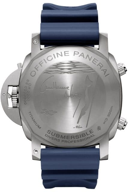 Gravur auf der Gehäuserückseite der Panerai Submersible Chrono Guillaume Néry Edition