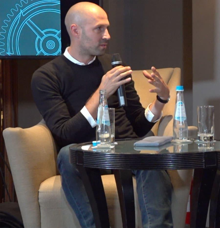 Uhrendesigner Simon Husslein bei der Podiumsdiskussion, Munichtime 2018
