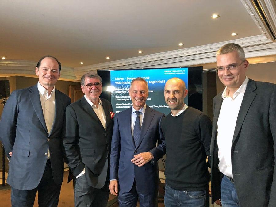 Die Teilnehmer der Podiumsdiskussion: Klaus-Dieter Koch, Gisbert L. Brunner, Wilhelm Schmid, Simon Husslein, Rüdiger Bucher