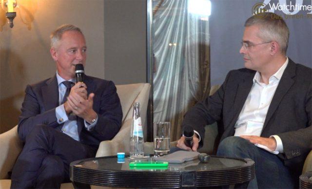 Lange-CEO Wilhelm Schmid im Gespräch mit Rüdiger Bucher bei der Podiumsdiskussion auf der Munichtime 2018