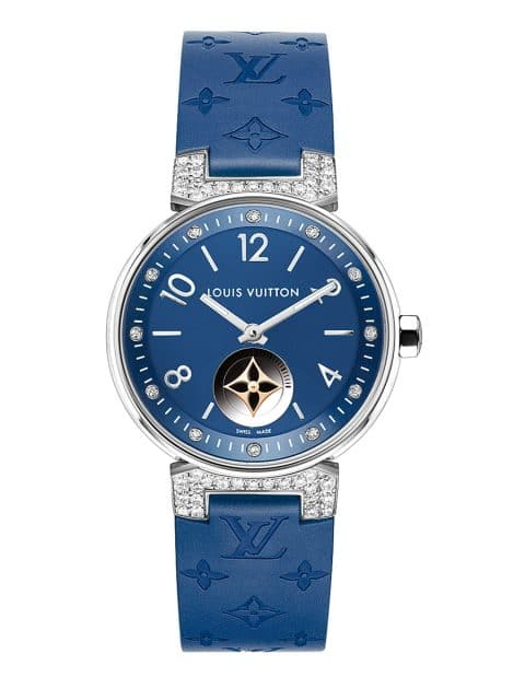 Louis Vuitton: Tambour Moon Star Blue mit Diamantbesatz (28 mm)