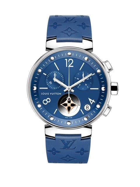 Louis Vuitton: Tambour Moon Star Blue als Chronographenversion mit 35 Millimeter Durchmesser