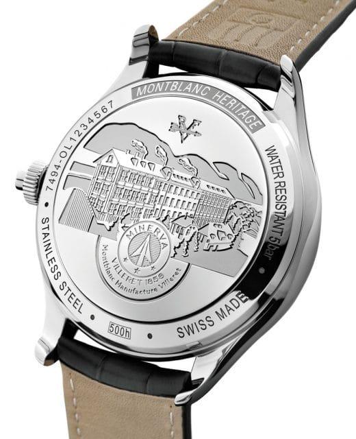 Montblanc Heritage Monopusher Chronograph: Den Boden ziert die eingravierte Minerva-Manufaktur in Villeret im Schweizer Jura