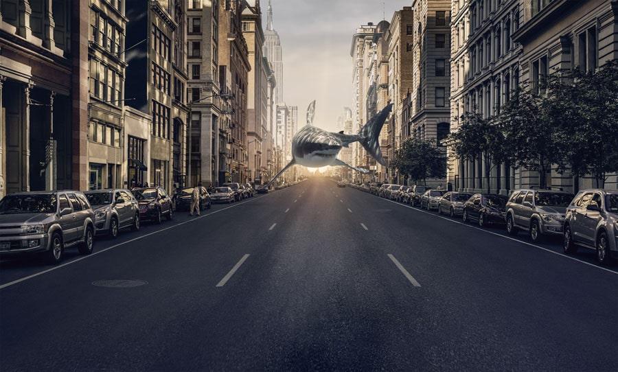 Ulysse Nardin: Hai in Manhattan. Foto aus der Anzeigenkampagne 2018