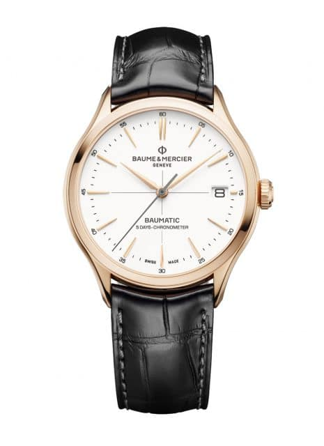 Baume & Mercier: Clifton Baumatic COSC Or Rouge mit einem Gehäuse in Rotgold