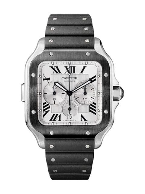 Cartier: Santos de Cartier Chronograph in Edelstahl