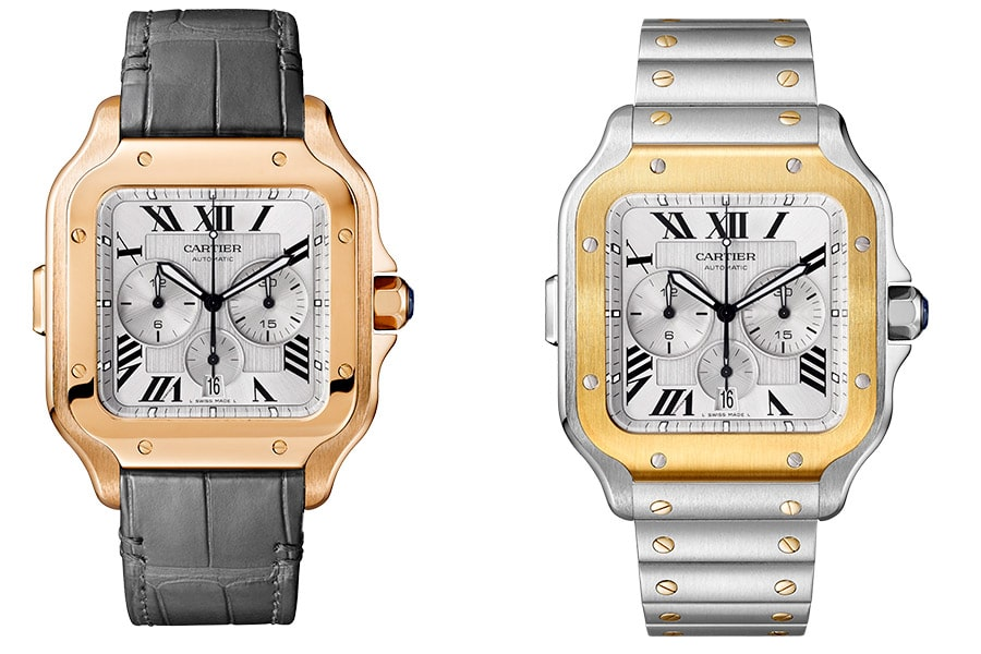 Cartier: Santos de Cartier Chronograph in Rotgold und in Bicolor
