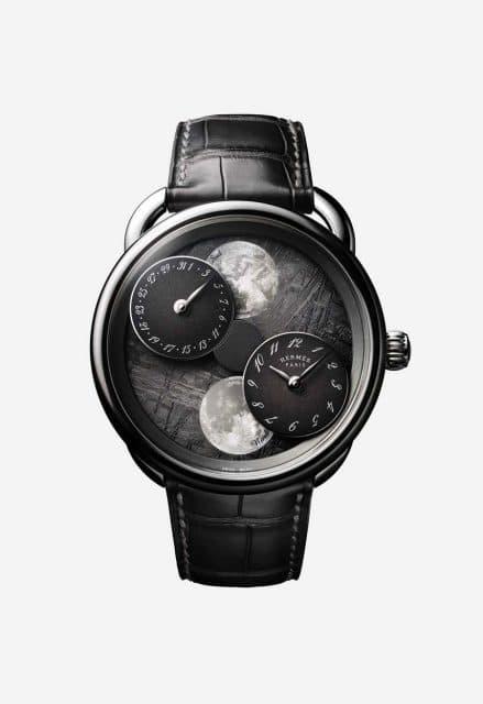 Pegasus bei 12 Uhr: Hermès Arceau l'heure de la lune mit Zifferblatt aus Meteoritgestein
