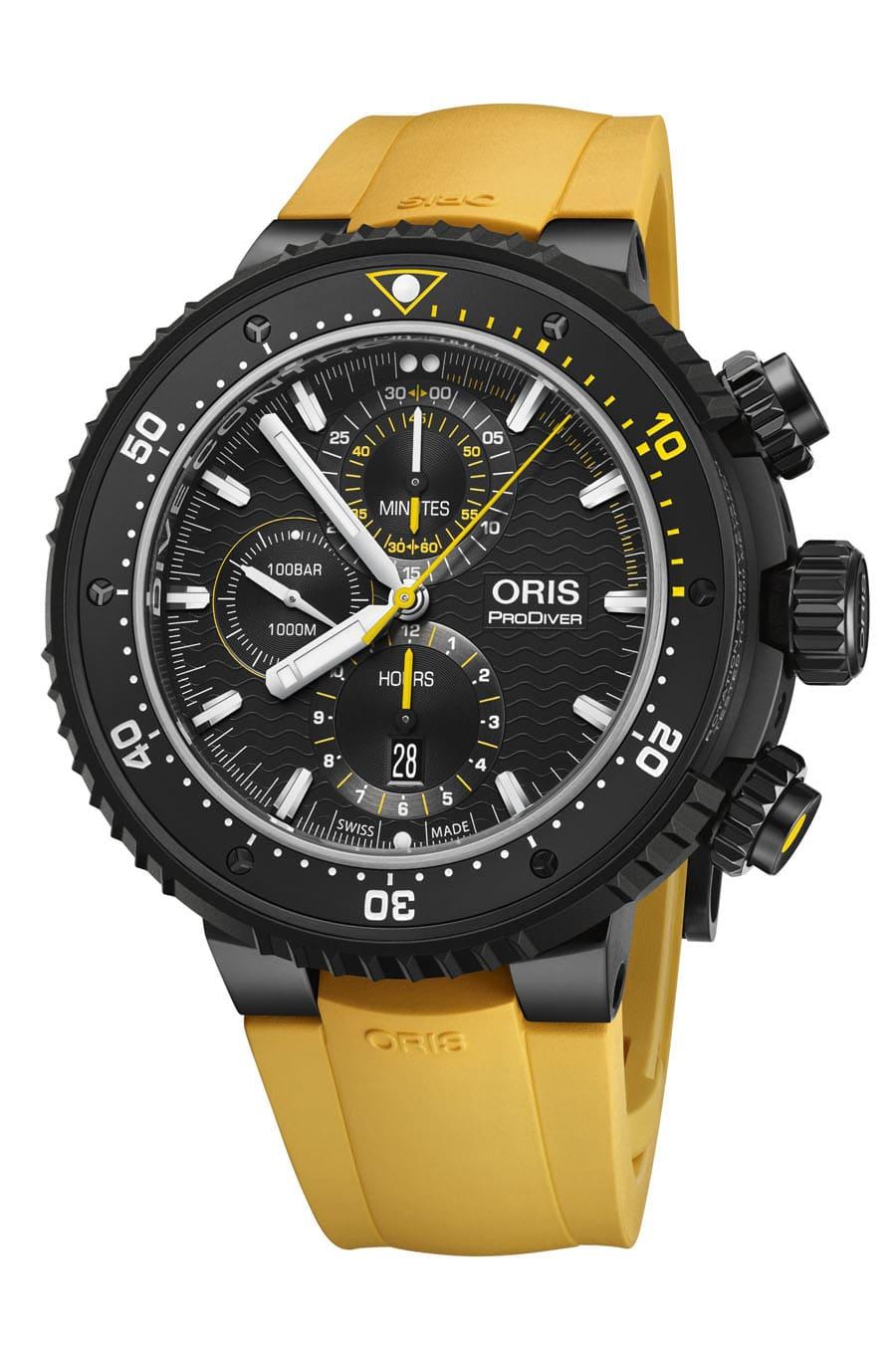 Oris: Dive Control Limited Edition mit gelbem Kautschukband