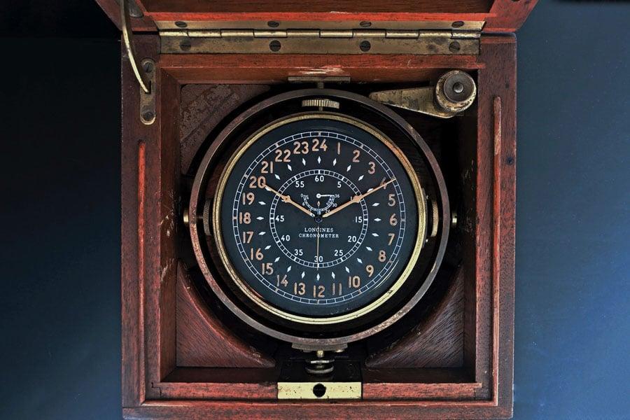 Teilnehmer am Wettbewerb um die älteste Longines-Uhr Deutschlands: Schiffschronometer von 1942