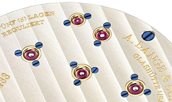 Goldchatons sind typisch für die Uhrwerke von A. Lange & Söhne