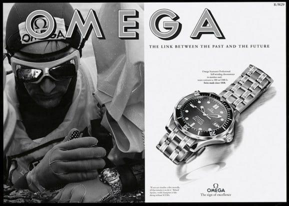 Werbeplakat der Omega Seamaster Professional Diver 300M aus dem Jahr 1993