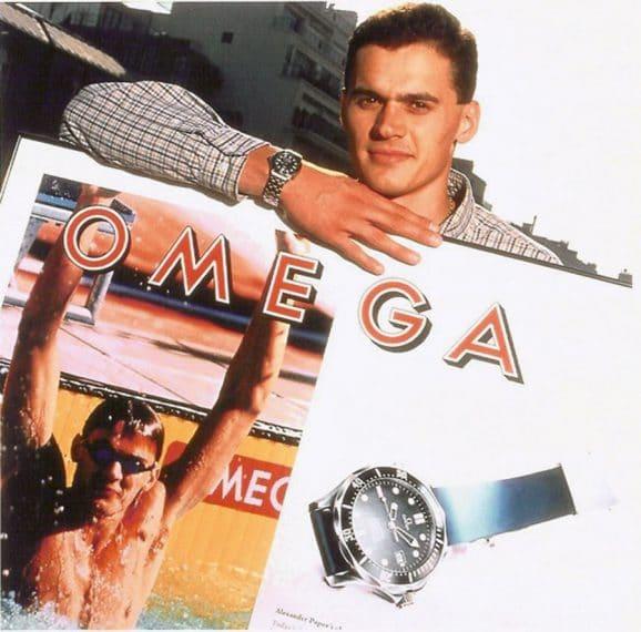 Markenbotschafter 1997: Schwimmer Alexander Popov und die Omega Seamster Diver 300M