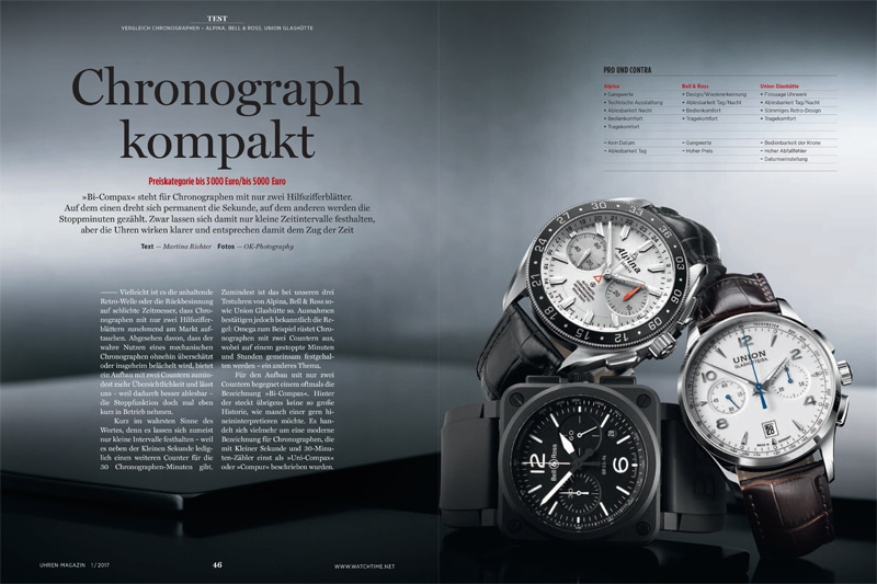 Produkt: Download: Vergleichstest Bicompax-Chronographen von Alpina, Bell & Ross, Union Glashütte