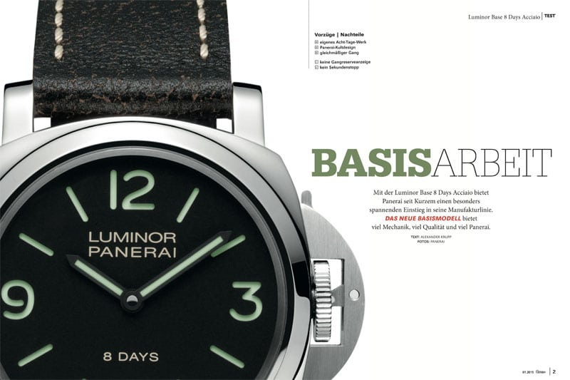 Produkt: Download Einzeltest: Panerai Luminor Base 8 Days Acciaio