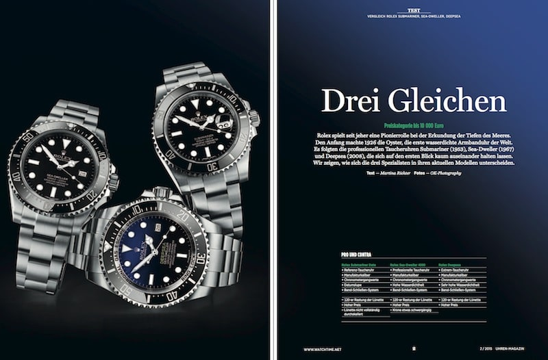 Produkt: Download Vergleichstest: Rolex Submariner, Sea-Dweller und Deepsea