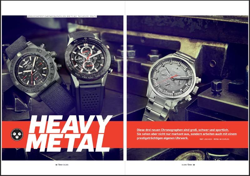 Produkt: Download Vergleichstest Chronographen von Breitling, TAG Heuer und Zenith