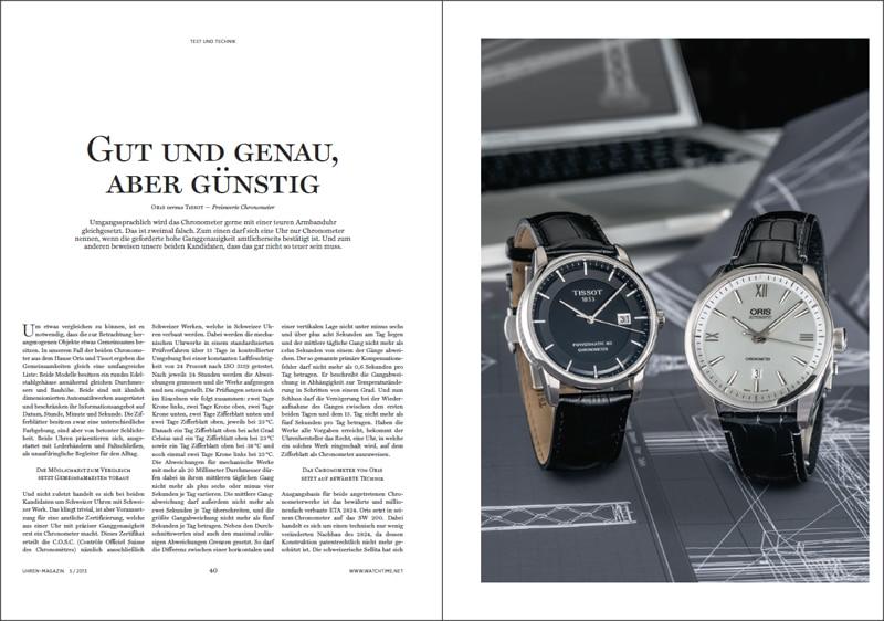 Produkt: Download Vergleichstest preiswerte Chronometer: Oris versus Tissot