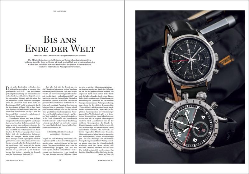 Produkt: Download Vergleichstest Fliegeruhren mit GMT-Funktion: Breitling versus Chronoswiss