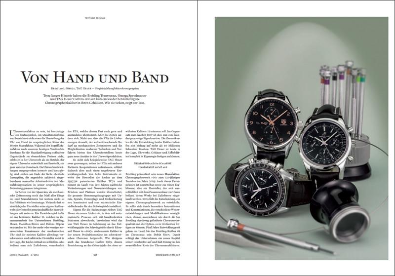 Produkt: Download Vergleichstest Manufakturchronographen: Omega, Breitling und TAG Heuer