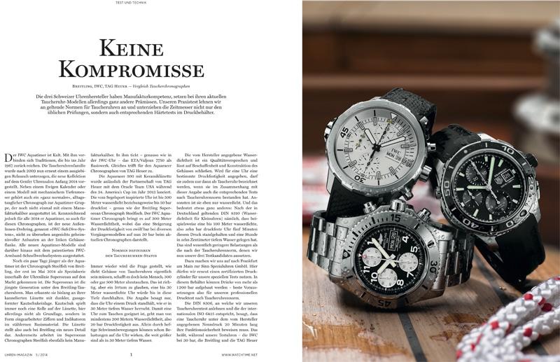 Produkt: Download Vergleichstest Taucherchronographen: Breitling, IWC und TAG Heuer