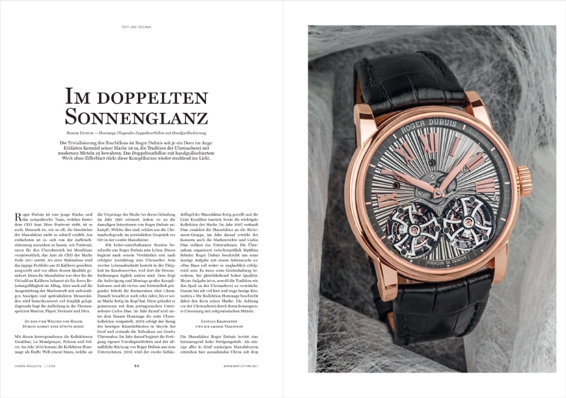 Produkt: Download Einzeltest: Roger Dubuis Hommage Fliegendes Doppeltourbillon mit Handguillochierung
