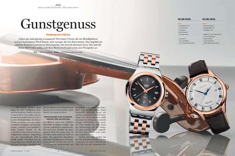 Produkt: Download: Vergleichstest Uhren unter 1.000 Euro: Swatch versus Seiko