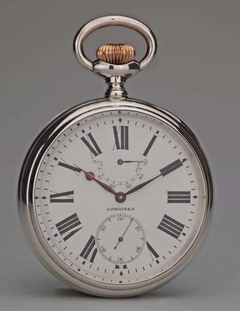 Dieser Taschenchronometer mit Longines-Kaliber 24.99 aus dem ersten Jahrzehnt des 20. Jahrhunderts hat an mehreren Präzisionswettbewerben erfolgreich teilgenommen