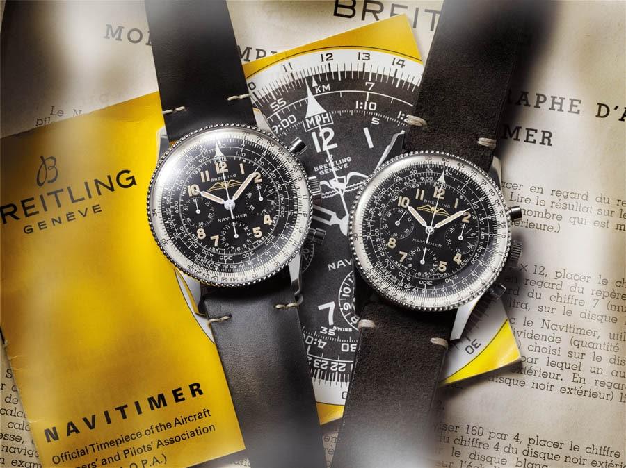 Breitling: Navitimer Ref. 806 1959 Re-Edition (links) mit dem Kaliber B09 und das historische Vorbild Navitimer Ref. 806 von 1959