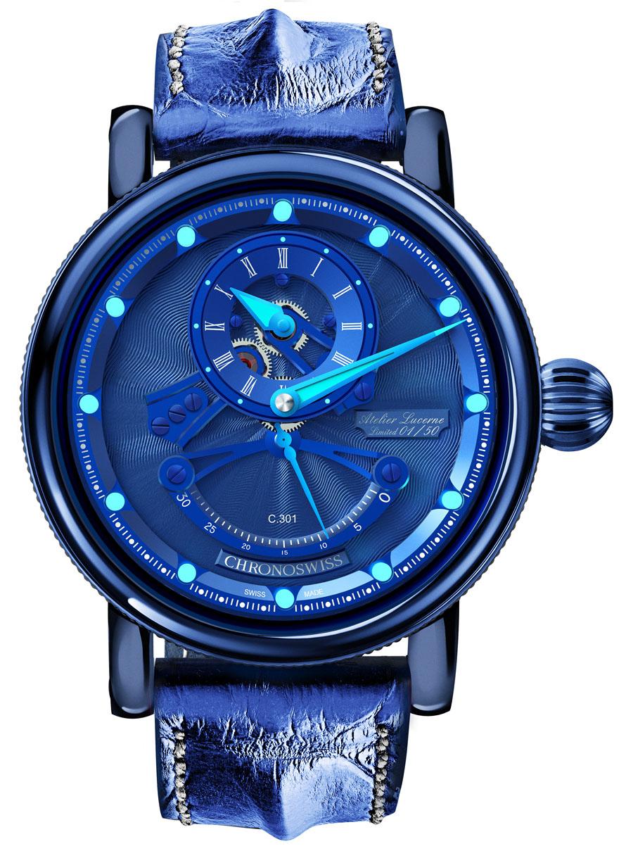 Die dritte DLC-beschichtete Version ist dieses Modell mit blauem Gehäuse, Zifferblatt und Armband