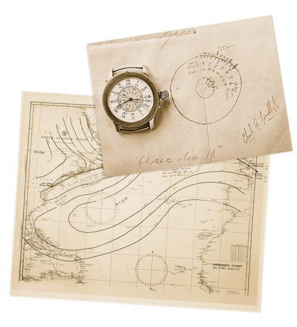 Lindbergh Flugroute und Stundenwinkeluhr
