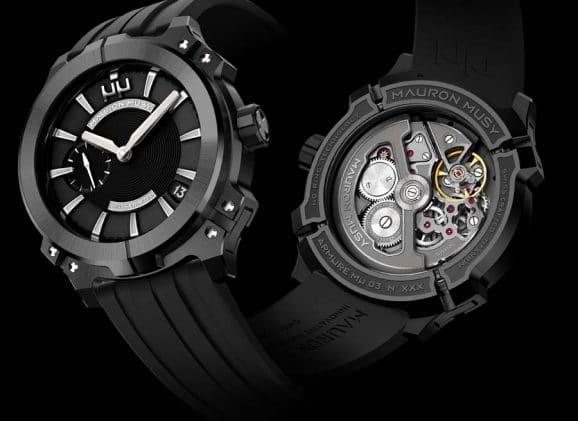 Das Uhrwerk der Armure MU03 entwickelte Mauron Musy gemeinsam mit La Joux-Perret. Es entstand exklusiv für den jungen Schweizer Hersteller.