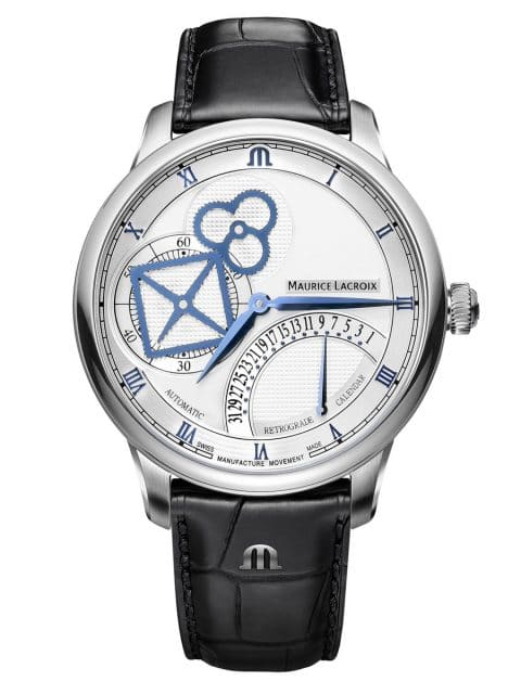 Maurice Lacroix: Masterpiece Square Wheel Retrograde mit silberfarbenem Zifferblatt