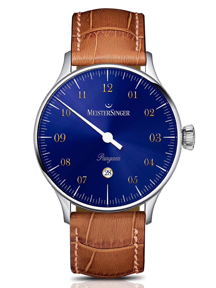 MeisterSinger: Pangaea Day Date – Sonnenschliff Stahlblau