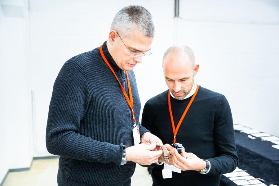 Red Dot 2019: Jurymitglieder Rüdiger Bucher und Simon Husslein, Kategorie Uhren und Smartwatches