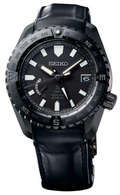 Seiko Prospex LX, Referenz SNR027, schwarz beschichtet mit GMT-Zeiger und Kompasslünette