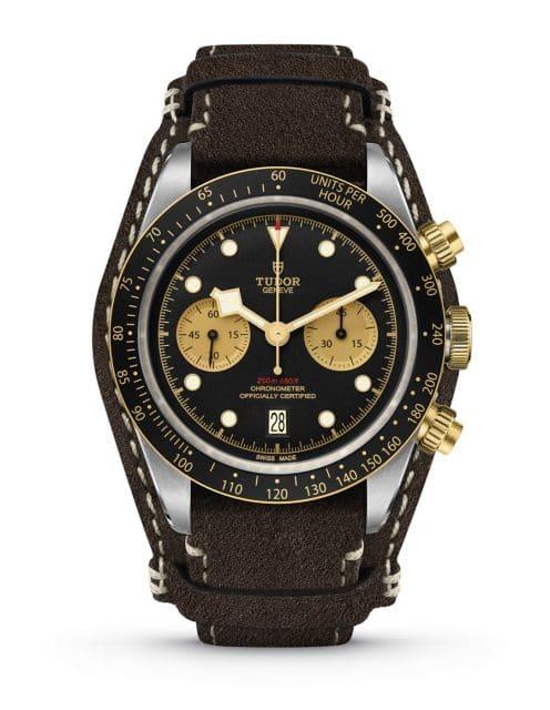 Das Lederband der Tudor Black Bay Chrono S&G besitzt eine abnehmbare Manschette
