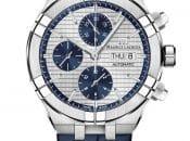 Maurice Lacroix: Aikon Chronograph mit blauen Countern auf hellem Grund, am Lederarmband