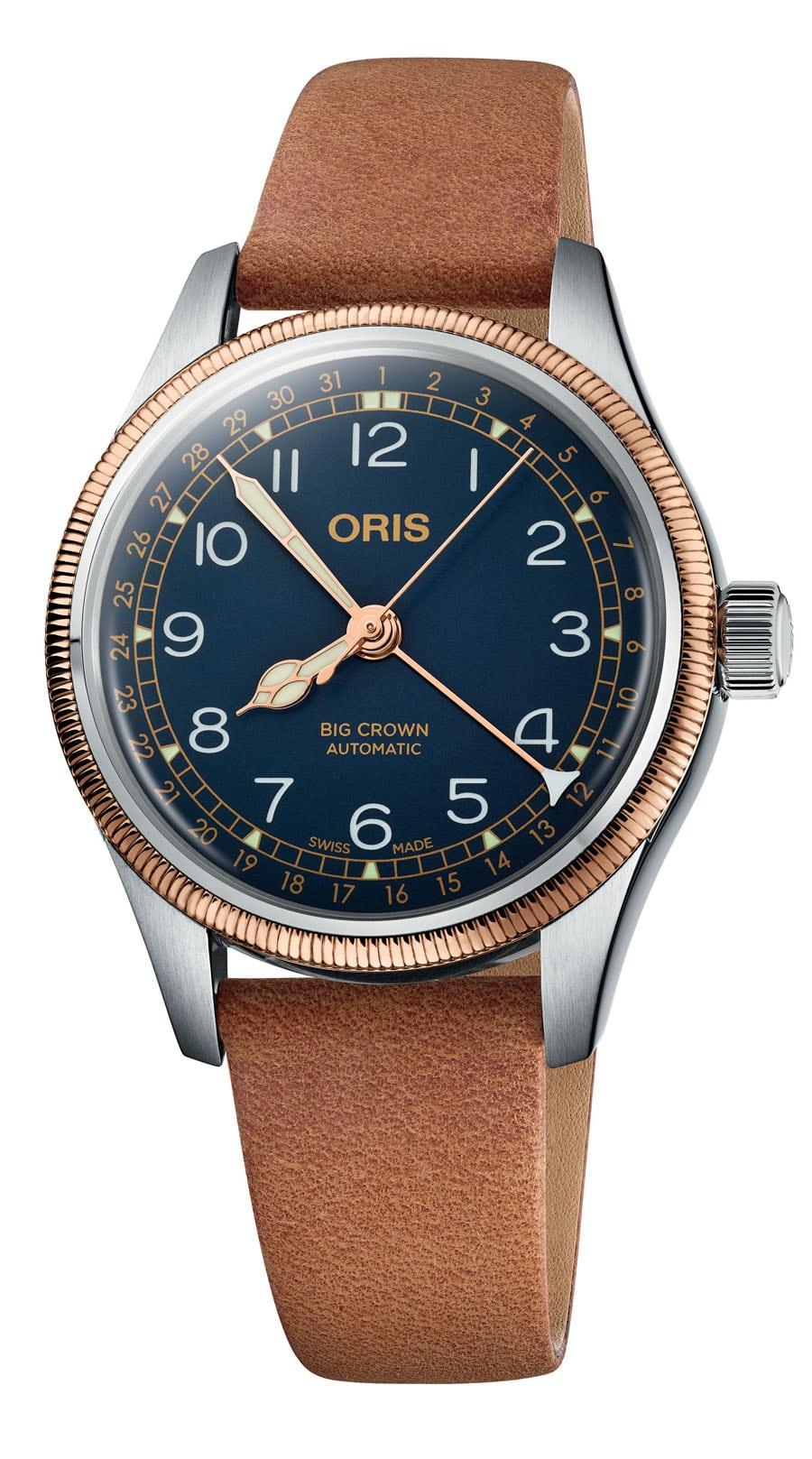 Oris: Big Crown Pointer Date in Edelstahl mit Bronzelünette