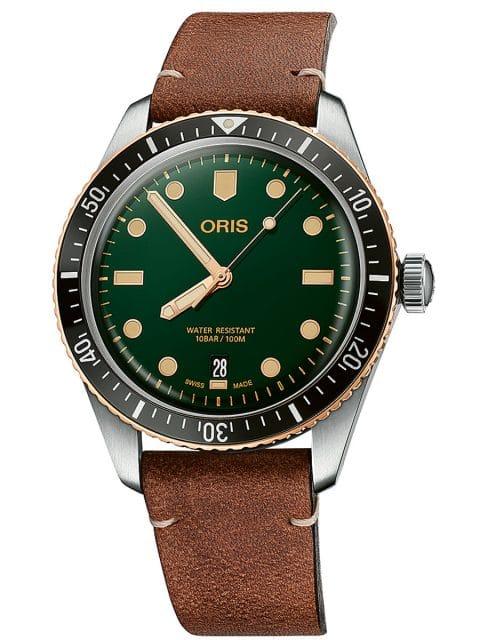 Oris: Divers Sixty-Five mit Bronzelünette und grünem Zifferblatt