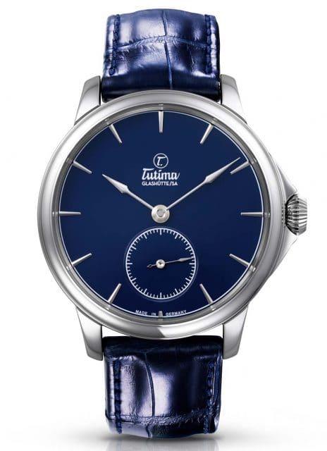 Moderner Klassiker mit Handaufzug: Tutimas Patria bekommt ein blaues Zifferblatt.
