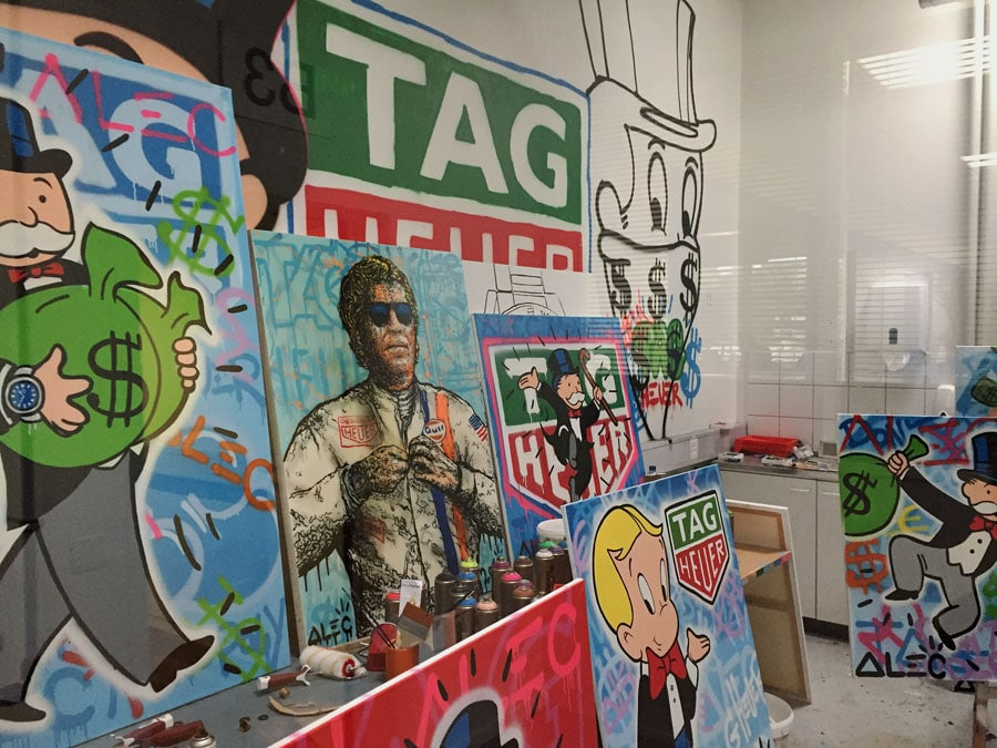 Chronos-Leserreise Jura 2019: Das Studio des Graffitikünstlers Alec Monopoly bei TAG Heuer-Atelier-Alec-Monopoly