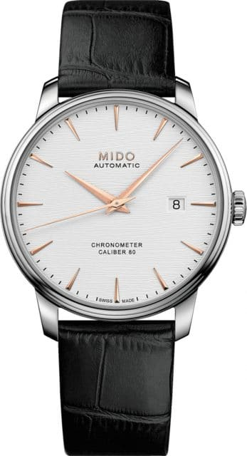 Mido: Baroncelli Caliber 80 Chronometer Silizium mit hellem Zifferblatt und Lederband
