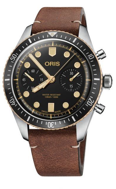 Oris: Divers Sixty-Five Chronograph am Lederband