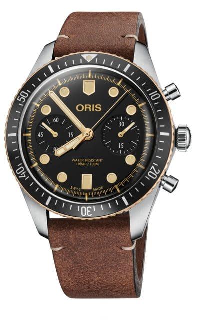 Oris: Divers Sixty-Five Chronograph am Lederband
