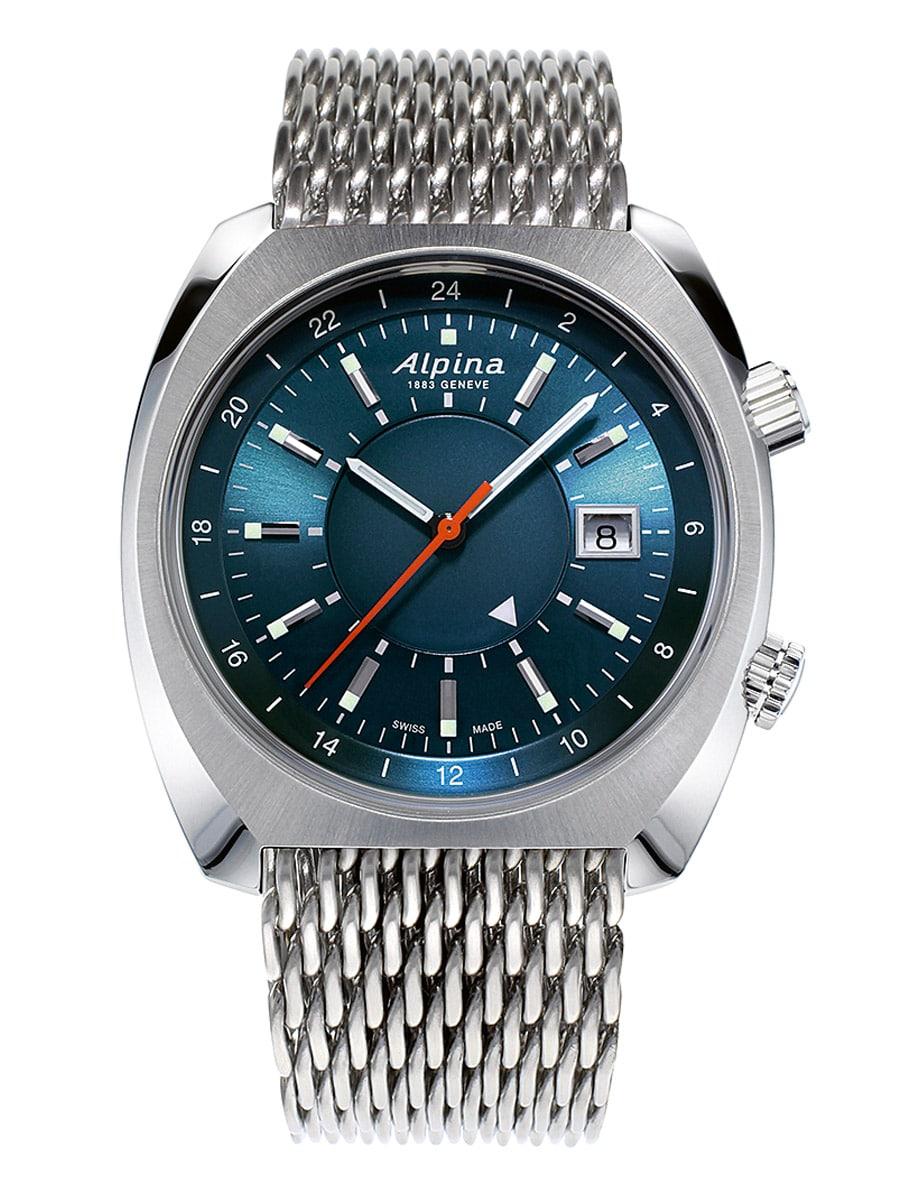 Alpina Genève Startimer Pilot Heritage Automatic GMT mit blauem Zifferblatt und Stahlband