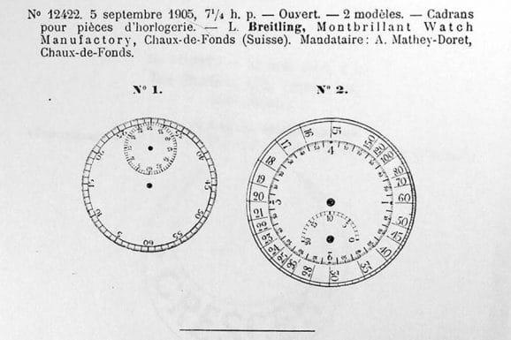 Breitling: Erster Eintrag Musterschutz für Tachymeter 05. September 1905