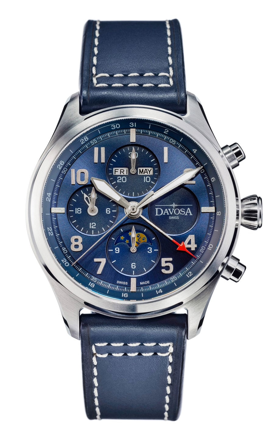 Davosa: Newton Pilot Moonphase Chronograph Limited Edition in Blau